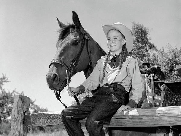Girl And Horse Photograph - 1960s Girl Holding Horses Reins Sitting by Animal Images