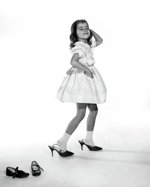Dressing Photograph - 1960s Girl Making Glamour Pose Having by Vintage Images