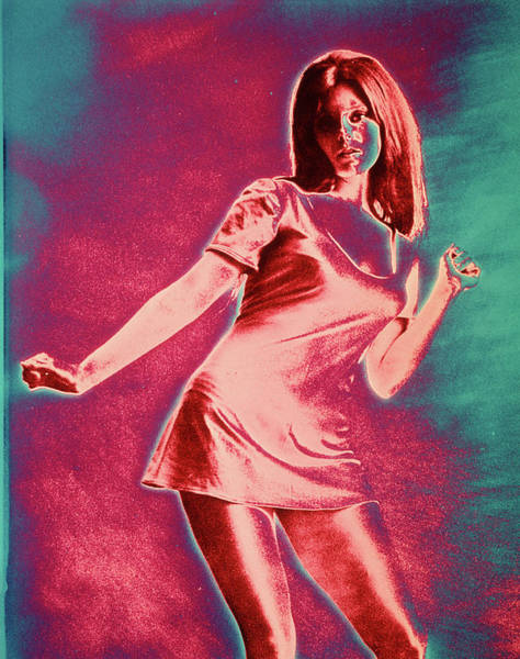 Psychedelic Image Painting - 1960s Girl Woman Short Miniskirt Dress by Vintage Images