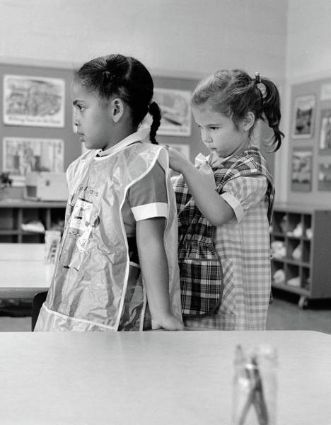 Ethnic Minority Photograph - 1960s Grade School Girl In Classroom by Vintage Images