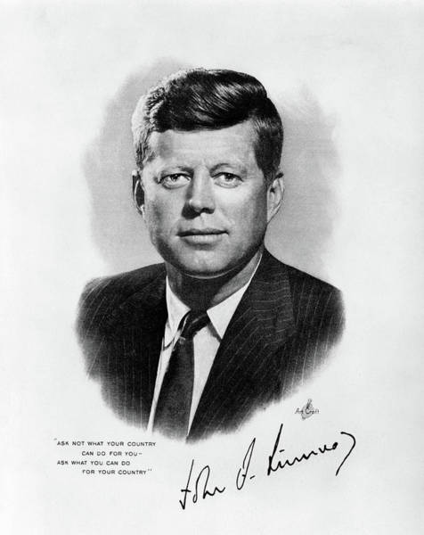 Quotation Photograph - 1960s Jfk Official White House Portrait by Vintage Images