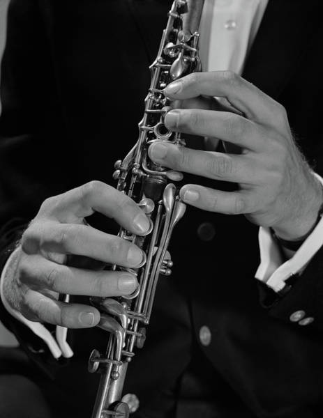 Talent Photograph - 1960s Male Hands Playing Clarinet by Vintage Images