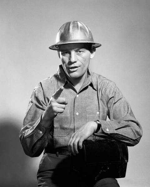Addressing Photograph - 1960s Man Hard Hat Arm Over Tin Lunch by Vintage Images