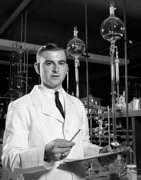 Addressing Photograph - 1960s Man Scientist In Chemistry by Vintage Images