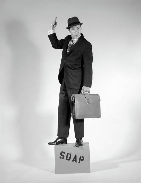 Public Speaker Photograph - 1960s Man Standing On Soap Box Holding by Vintage Images