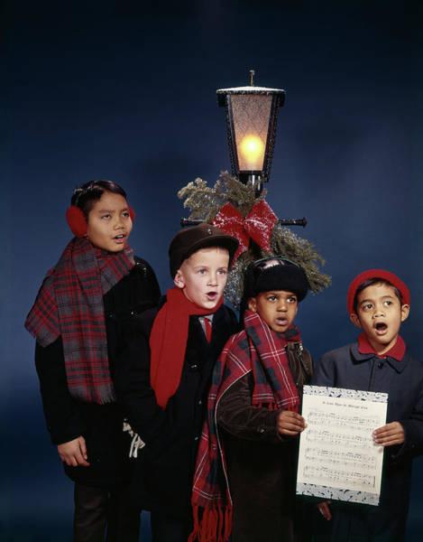 Carol Singing Photograph - 1960s Multi-ethnic Group Juvenile Boys by Vintage Images