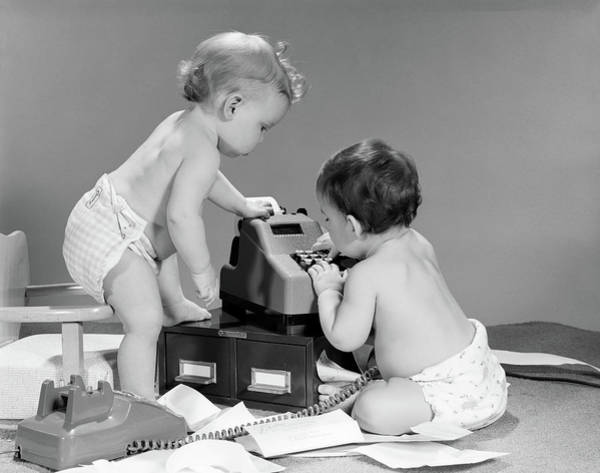 Bookkeeper Photograph - 1960s Pair Of Babies Around Adding by Vintage Images