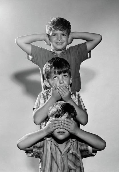Proverb Photograph - 1960s Portrait Of 3 Boys Miming Hear by Vintage Images