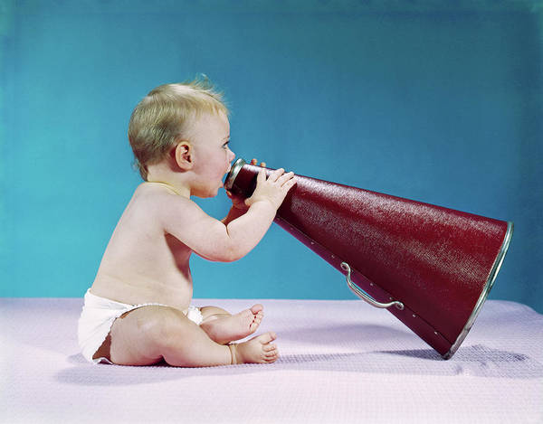 Wall Art - Photograph - 1960s Profile Of Seated Baby Shouting by Vintage Images