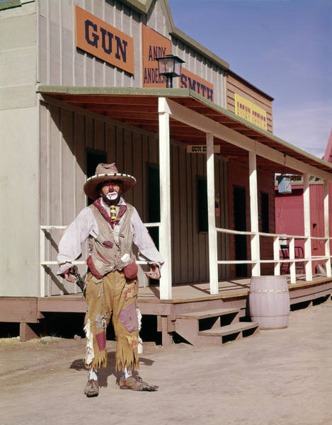 Western Costume Photograph - 1960s Sad Clown In Cowboy Costume by Vintage Images