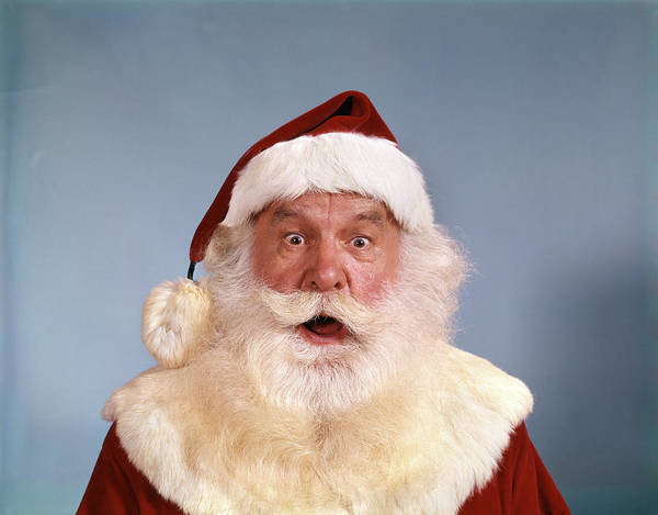 Jolly Holiday Photograph - 1960s Santa Claus Shocked Expression by Vintage Images