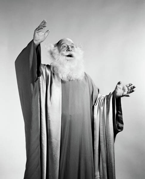 Seer Wall Art - Photograph - 1960s Senior Man White Beard Long Robes by Vintage Images