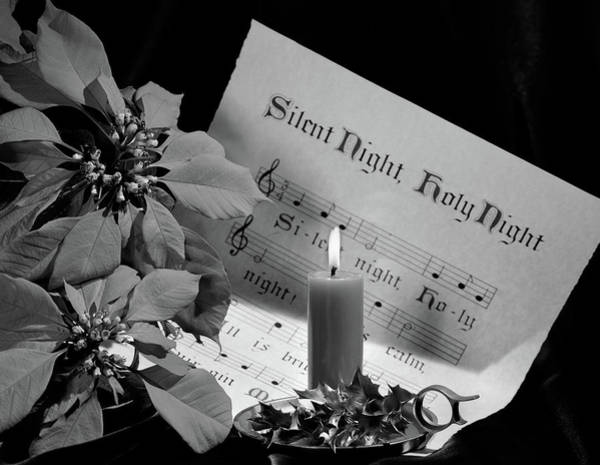 Carol Singing Photograph - 1960s Sheet Music Of Silent Night by Vintage Images