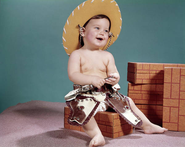 Western Costume Photograph - 1960s Smiling Baby Wearing Cowboy Hat by Vintage Images