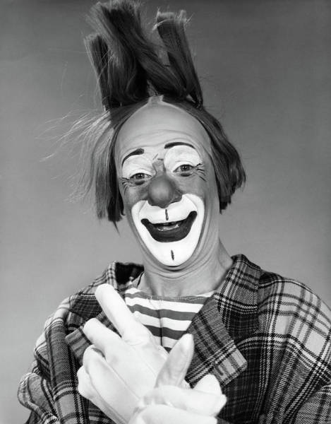 Bad Hair Wall Art - Photograph - 1960s Smiling Clown With White Gloved by Vintage Images