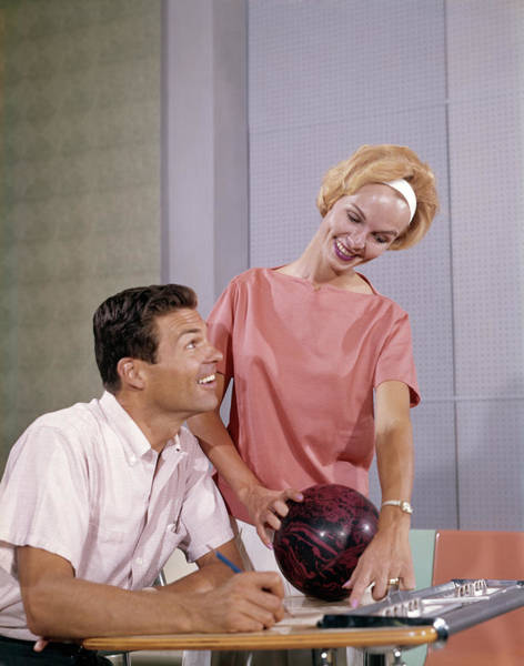 Ten Pin Bowling Wall Art - Photograph - 1960s Smiling Couple Husband Wife by Vintage Images