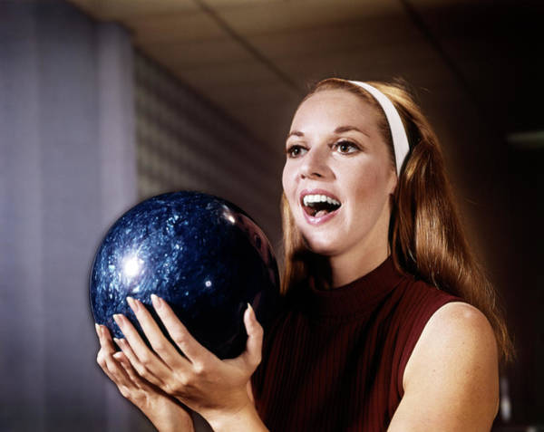 Ten Pin Bowling Wall Art - Photograph - 1960s Smiling Laughing Woman Holding by Vintage Images