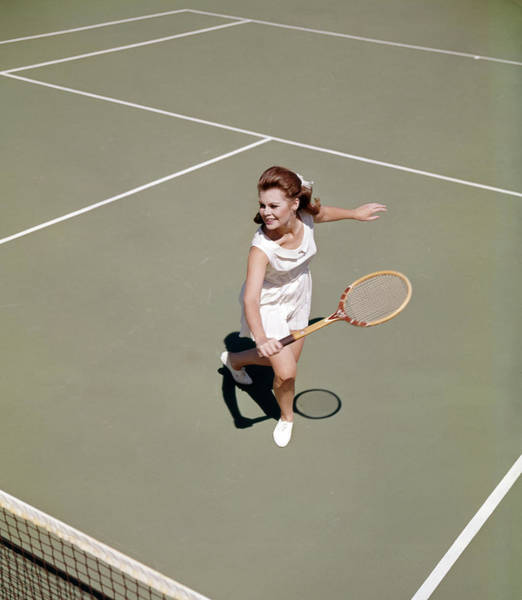 Wall Art - Photograph - 1960s Smiling Woman Playing Tennis by Vintage Images