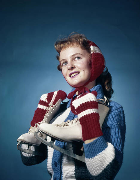 Ear Muffs Photograph - 1960s Smiling Woman Wearing Red Mittens by Vintage Images