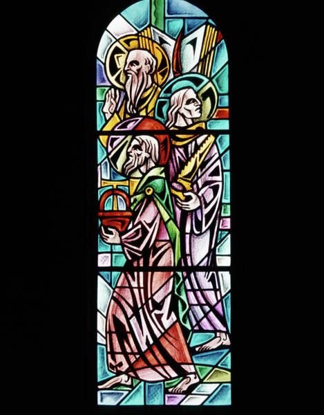 Holy Trinity Photograph - 1960s Stained Glass Window Design by Vintage Images