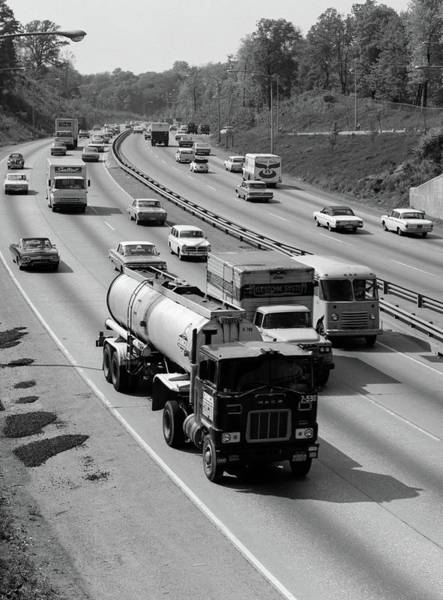 Trailer Photograph - 1960s Tanker Truck Traveling On Busy by Vintage Images