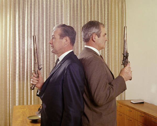 Gunfight Wall Art - Photograph - 1960s Two Angry Middle Aged Business by Vintage Images