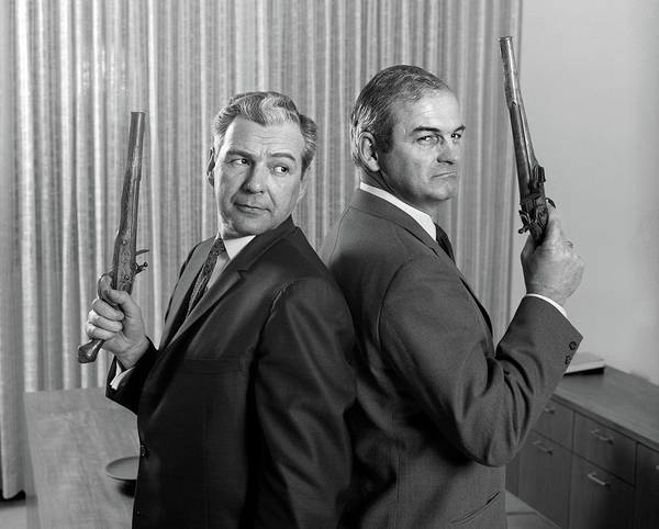 Gunfight Wall Art - Photograph - 1960s Two Middle Aged Angry Businessmen by Vintage Images