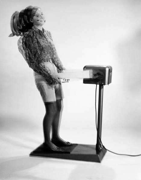 Workout Photograph - 1960s Woman Massaged By Vibrating by Vintage Images