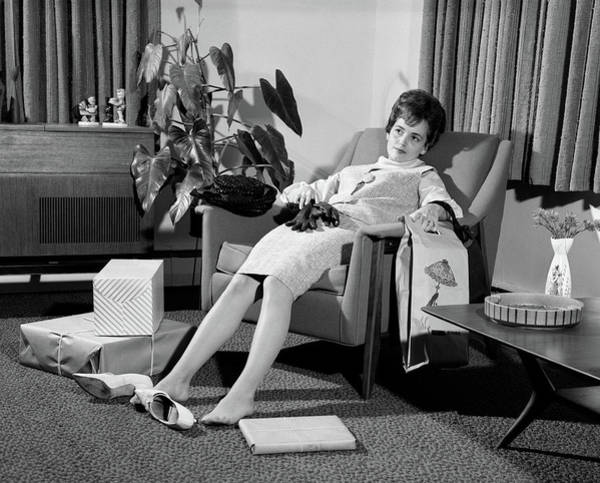 Weary Photograph - 1960s Woman Plopped Down In Armchair by Vintage Images