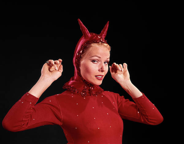 Sly Photograph - 1960s Woman Red Devil Costume by Vintage Images