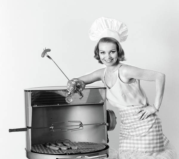 Barbeque Photograph - 1960s Woman Wearing Chef Hat Standing by Vintage Images
