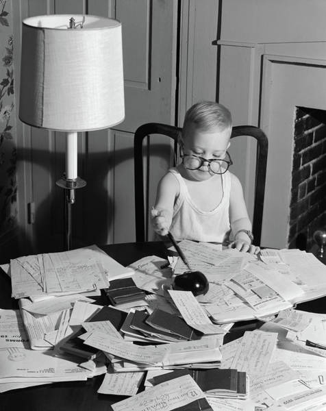 Ir Photograph - 1960s Young Boy At Desk Wearing Glasses by Vintage Images