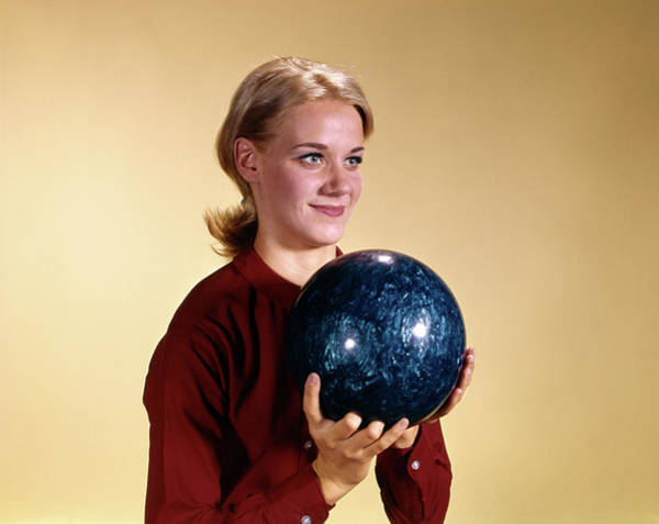 Ten Pin Bowling Wall Art - Photograph - 1960s Young Smiling Blonde Woman by Vintage Images