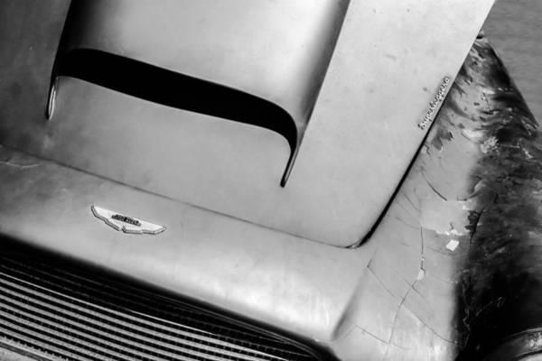 Photograph - 1961 Aston Martin Db4 Hood Emblem -0490bw by Jill Reger
