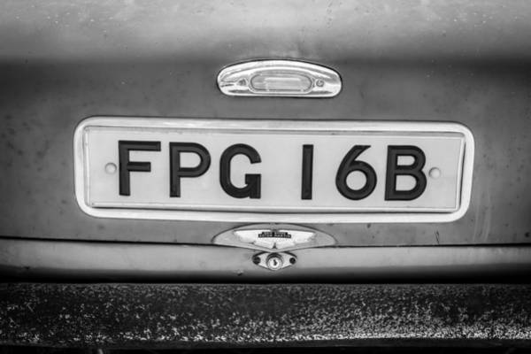 Photograph - 1961 Aston Martin Db4 License Plate -0457bw by Jill Reger