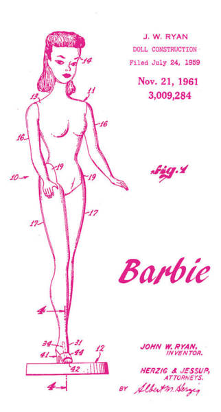 Vintage Patent Wall Art - Digital Art - 1961 Barbie Doll Patent Art 3 by Nishanth Gopinathan