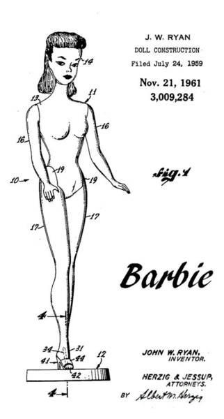 Vintage Patent Wall Art - Digital Art - 1961 Barbie Doll Patent Art 4 by Nishanth Gopinathan