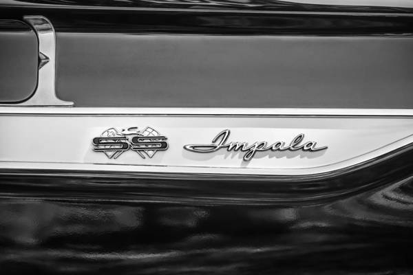 Chevy Bel Air Photograph - 1961 Chevrolet Bel Air Impala Bubble Top Emblem -0603bw by Jill Reger