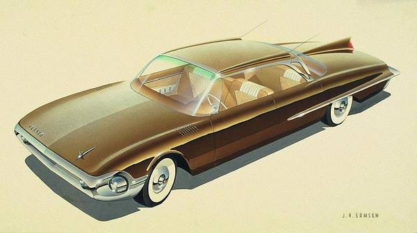 Wall Art - Drawing - 1961 Desoto  Vintage Styling Design Concept Rendering Sketch by John Samsen
