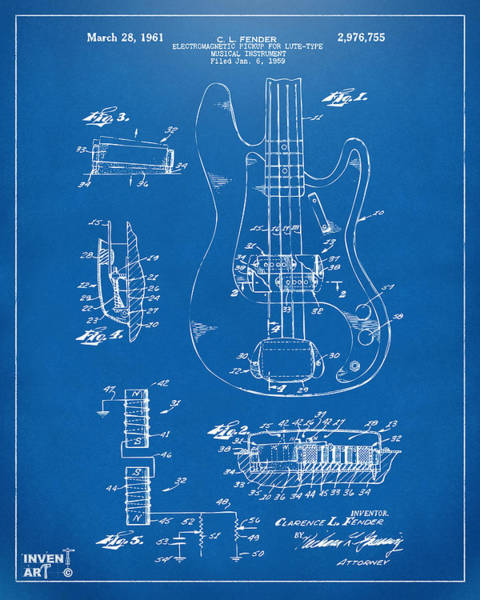 Wall Art - Digital Art - 1961 Fender Guitar Patent Artwork - Blueprint by Nikki Marie Smith