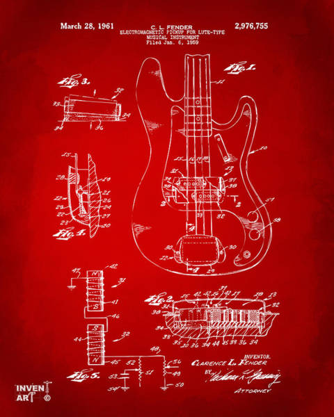 Wall Art - Digital Art - 1961 Fender Guitar Patent Artwork - Red by Nikki Marie Smith