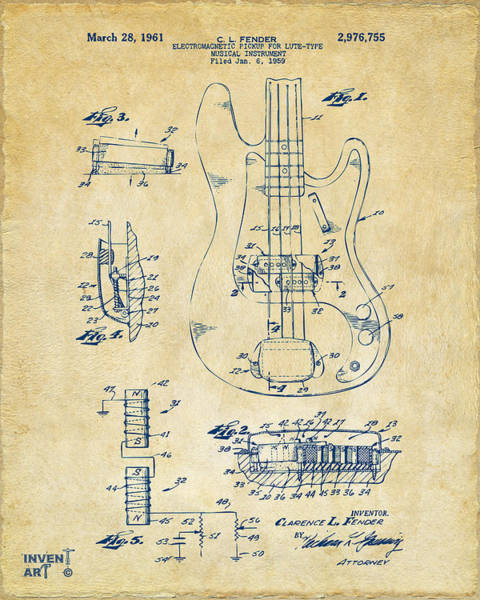 Wall Art - Digital Art - 1961 Fender Guitar Patent Artwork - Vintage by Nikki Marie Smith