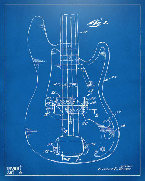 Wall Art - Digital Art - 1961 Fender Guitar Patent Minimal - Blueprint by Nikki Marie Smith