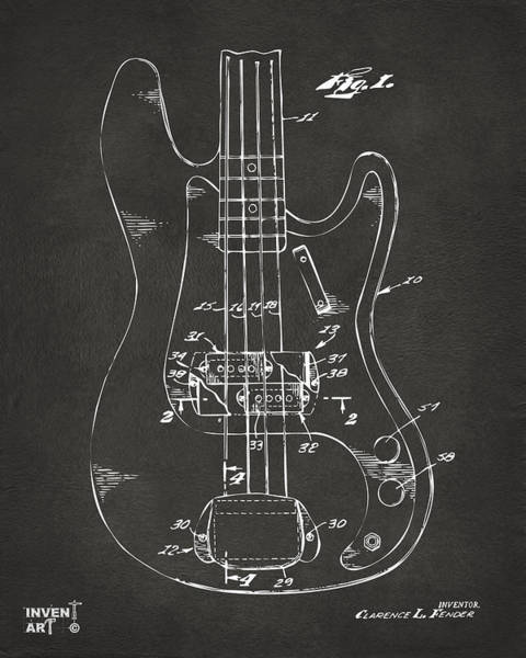 Wall Art - Digital Art - 1961 Fender Guitar Patent Minimal - Gray by Nikki Marie Smith