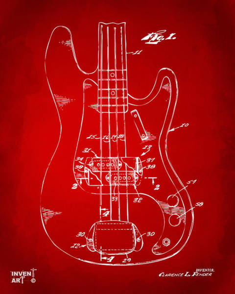 Wall Art - Digital Art - 1961 Fender Guitar Patent Minimal - Red by Nikki Marie Smith