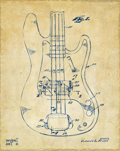 Wall Art - Digital Art - 1961 Fender Guitar Patent Minimal - Vintage by Nikki Marie Smith
