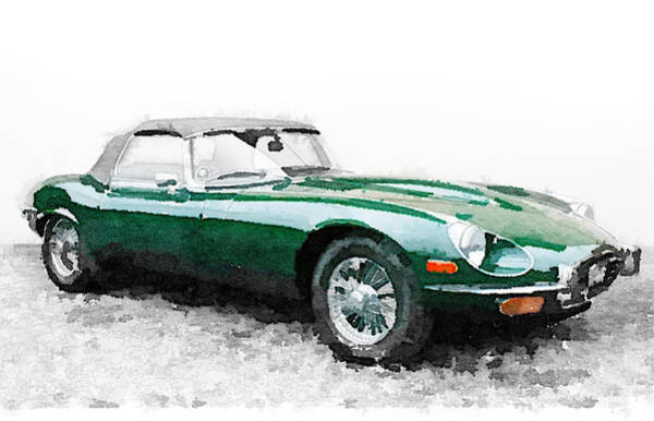 Jaguar Painting - 1961 Jaguar E-type Watercolor by Naxart Studio