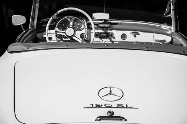 Wall Art - Photograph - 1961 Mercedes-benz 190 Sl Emblem - Steering Wheel -1996bw by Jill Reger