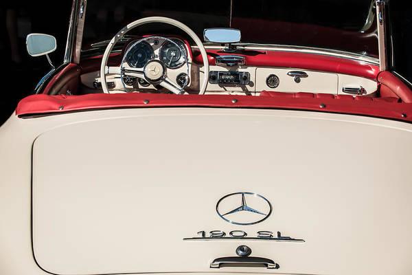 Wall Art - Photograph - 1961 Mercedes-benz 190 Sl Emblem - Steering Wheel -1996c by Jill Reger