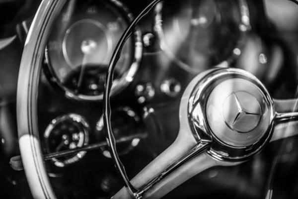 Wall Art - Photograph - 1961 Mercedes-benz 190 Sl Roadster Steering Wheel -0855bw by Jill Reger